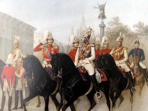 Николай I и цесаревич Александр Николаевич среди офицеров лейб-гвардии Конного полка