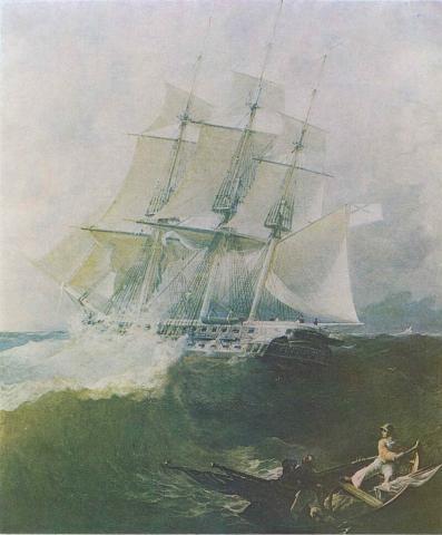Фрегат «Аврора» во время бури. 1838