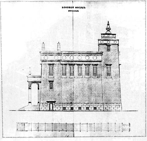 Боковой (восточный) фасад храма.